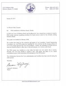 Letter of support from Hillsboro Beach
